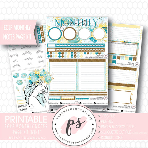 Mint Monthly Notes Page Kit Digital Printable Planner Stickers (for use with ECLP) - Plannerologystudio