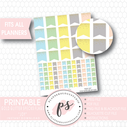 """Joy"" Gold Glitter Specks Flags Printable Planner Stickers - Plannerologystudio"