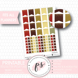 """Merry Christmas"" Gold Glitter Specks Flags Printable Planner Stickers - Plannerologystudio"