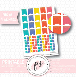 """Bliss"" Gold Glitter Specks Flags Printable Planner Stickers - Plannerologystudio"