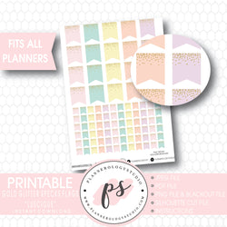 """Luscious"" Gold Glitter Specks Flags Printable Planner Stickers - Plannerologystudio"