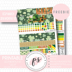 Lucky St Patrick's Day ECLP Erin Condren March 2018 Monthly Kit Digital Printable Planner Stickers (PDF/JPG/PNG/Silhouette Cut File Freebie) - Plannerologystudio