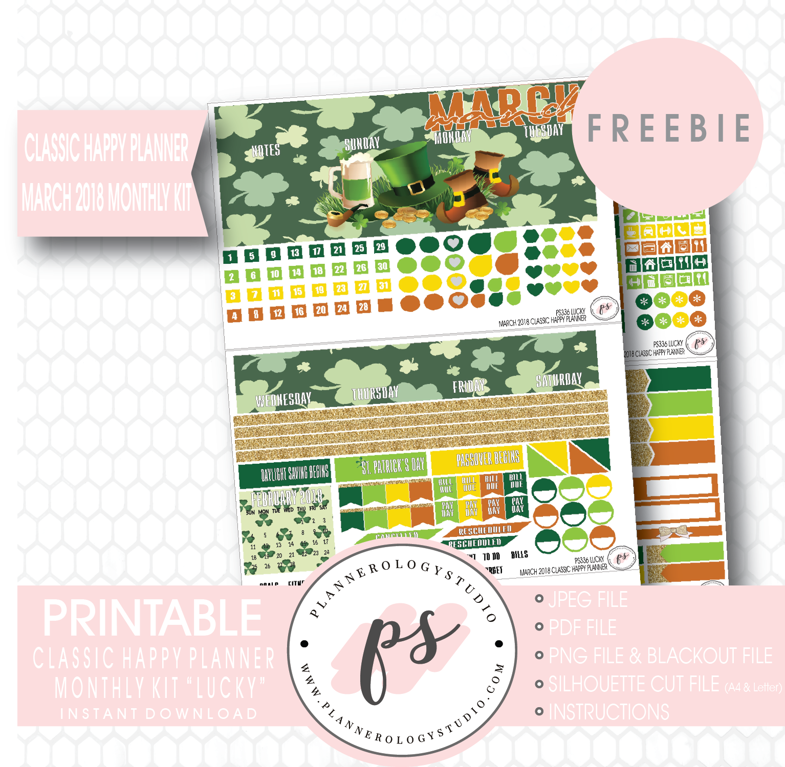 Lucky St Patrick S Day Classic Happy Planner March 2018 Monthly Kit