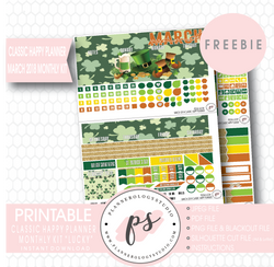 Lucky St Patrick's Day Classic Happy Planner March 2018 Monthly Kit Digital Printable Planner Stickers (PDF/JPG/PNG/Silhouette Cut File Freebie) - Plannerologystudio