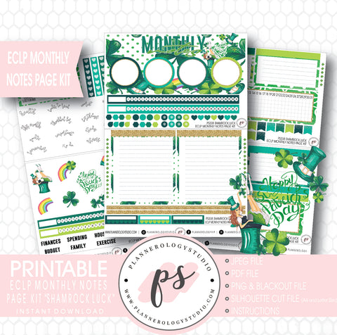 Shamrock Luck Monthly Notes Page Kit Digital Printable Planner Stickers (for use with ECLP) - Plannerologystudio