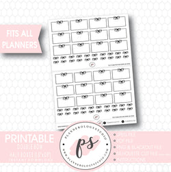 Double Bow Half Box Handdrawn Bujo Bullet Journal Style Digital Printable Planner Stickers - Plannerologystudio