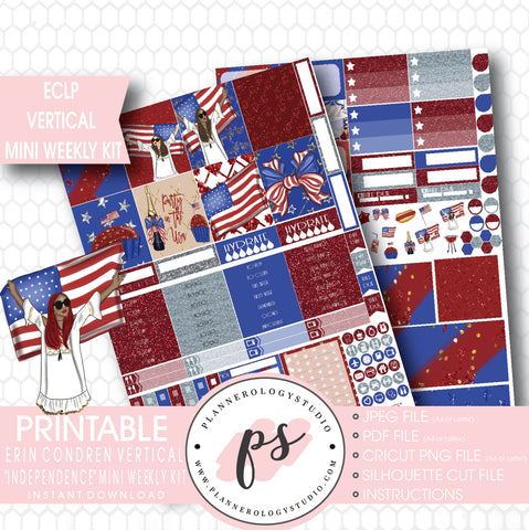 Independence (4th July) Mini Weekly Kit Printable Planner Stickers (for use with ECLP Vertical) - Plannerologystudio