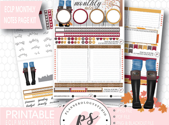 Fall in the Park Monthly Notes Page Kit Digital Printable Planner Stickers (for use with ECLP) - Plannerologystudio