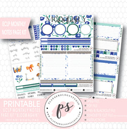 Bloom Again Monthly Notes Page Kit Digital Printable Planner Stickers (for use with ECLP) - Plannerologystudio