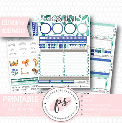 Bloom Monthly Notes Page Kit Digital Printable Planner Stickers (for use with ECLP) - Plannerologystudio