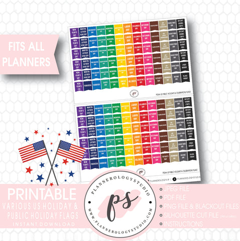 US American Public Holidays & Celebrations Rainbow Flags Digital Printable Planner Stickers - Plannerologystudio