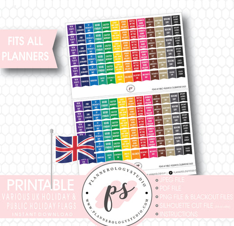 UK Public Holidays & Celebrations Rainbow Flags Digital Printable Planner Stickers - Plannerologystudio