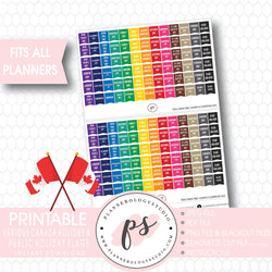 Canada Public Holidays & Celebrations Rainbow Flags Digital Printable Planner Stickers - Plannerologystudio