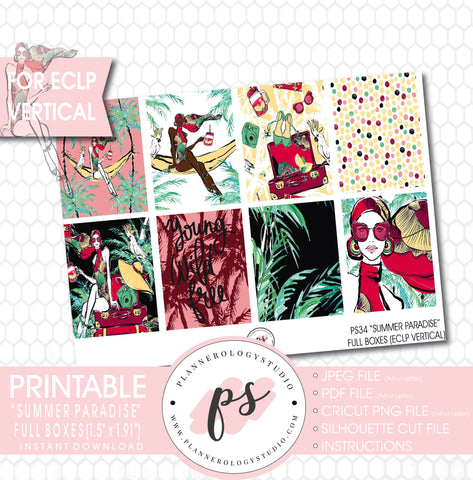 Summer Paradise Full Box Printable Planner Stickers (for use with ECLP Vertical) - Plannerologystudio