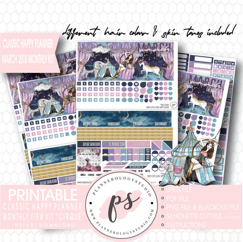 Cirque March 2018 Monthly View Kit Digital Printable Planner Stickers (for use with Classic Happy Planner) - Plannerologystudio