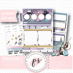 Cirque Monthly Notes Page Kit Digital Printable Planner Stickers (for use with ECLP) - Plannerologystudio