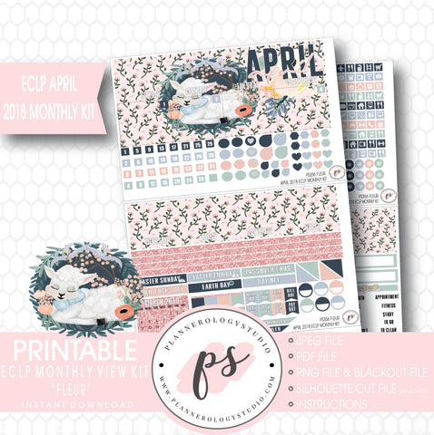 Fleur April Easter 2018 Monthly View Kit Digital Printable Planner Stickers (for use with Erin Condren) - Plannerologystudio