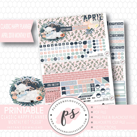 Fleur April Easter 2018 Monthly View Kit Digital Printable Planner Stickers (for use with Classic Happy Planner) - Plannerologystudio