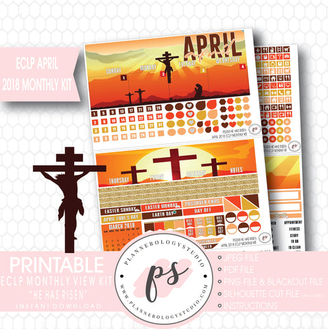 He Has Risen April Easter 2018 Monthly View Kit Digital Printable Planner Stickers (for use with Erin Condren) - Plannerologystudio