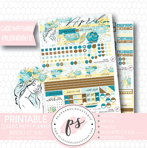 Mint April 2018 Monthly View Kit Digital Printable Planner Stickers (for use with Classic Happy Planner) - Plannerologystudio