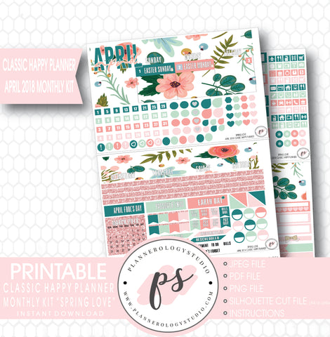 Spring Love April 2018 Monthly View Kit Digital Printable Planner Stickers (for use with Classic Happy Planner) - Plannerologystudio