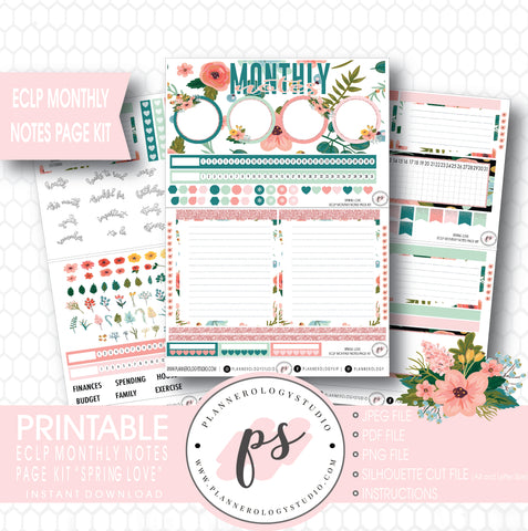Spring Love Monthly Notes Page Kit Digital Printable Planner Stickers (for use with ECLP) - Plannerologystudio