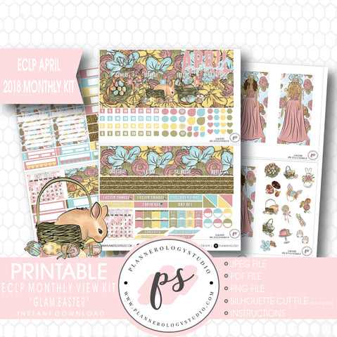 Glam Easter April 2018 Monthly View Kit Digital Printable Planner Stickers (for use with Erin Condren) - Plannerologystudio