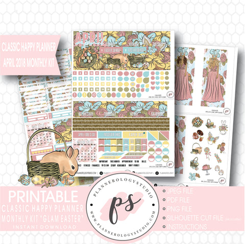 Glam Easter April 2018 Monthly View Kit Digital Printable Planner Stickers (for use with Classic Happy Planner) - Plannerologystudio