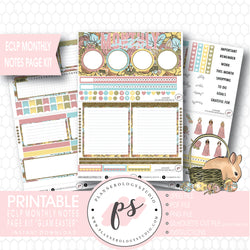 Glam Easter Monthly Notes Page Kit Digital Printable Planner Stickers (for use with ECLP) - Plannerologystudio