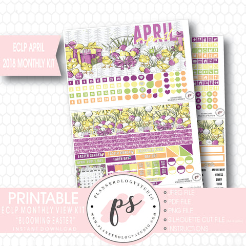 Blooming Easter April 2018 Monthly View Kit Digital Printable Planner Stickers (for use with Erin Condren) - Plannerologystudio