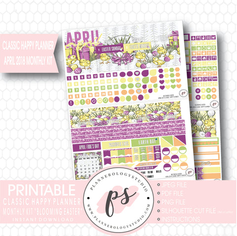 Blooming Easter April 2018 Monthly View Kit Digital Printable Planner Stickers (for use with Classic Happy Planner) - Plannerologystudio