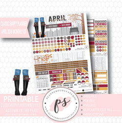 Autumn in the Park April 2018 Monthly View Kit Digital Printable Planner Stickers (for use with Classic Happy Planner) - Plannerologystudio