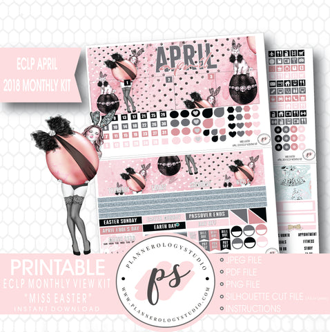 Miss Easter April 2018 Monthly View Kit Digital Printable Planner Stickers (for use with Erin Condren) - Plannerologystudio