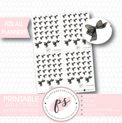 Black Glitter Specks Decorative Bow Icons Digital Printable Planner Stickers - Plannerologystudio