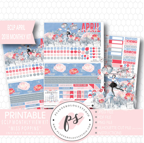 Miss Poppins (Mary Poppins) April 2018 Monthly View Kit Digital Printable Planner Stickers (for use with Erin Condren) - Plannerologystudio
