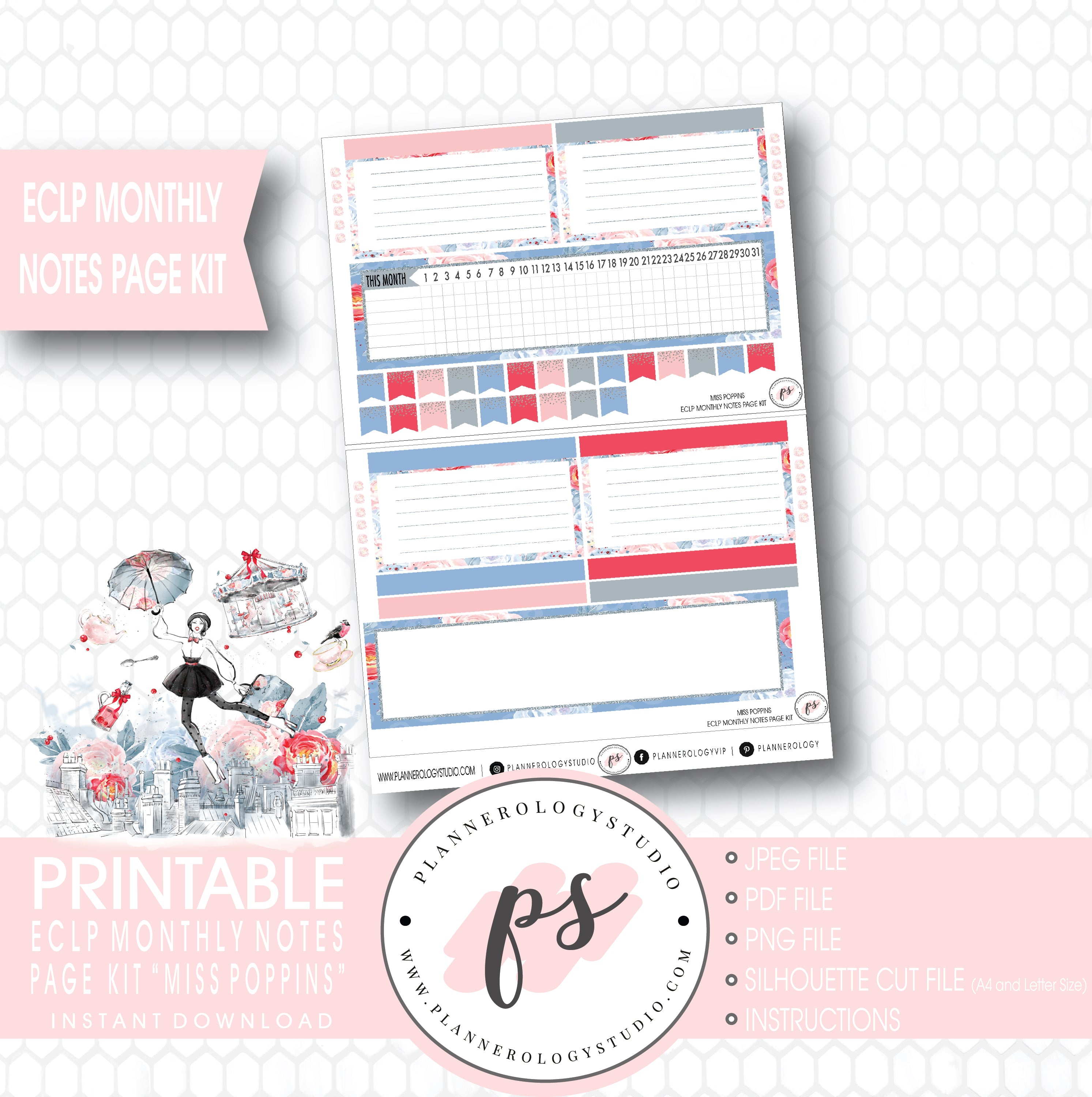 Miss Poppins (Mary Poppins) Monthly Notes Page Kit Digital