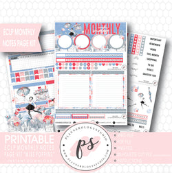 Miss Poppins (Mary Poppins) Monthly Notes Page Kit Digital Printable Planner Stickers (for use with ECLP) - Plannerologystudio