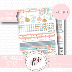 Sweet Easter ECLP Erin Condren April 2018 Monthly Kit Digital Printable Planner Stickers (PDF/JPG/PNG/Silhouette Cut File Freebie) - Plannerologystudio