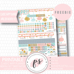 Sweet Easter Classic Happy Planner April 2018 Monthly Kit Digital Printable Planner Stickers (PDF/JPG/PNG/Silhouette Cut File Freebie) - Plannerologystudio
