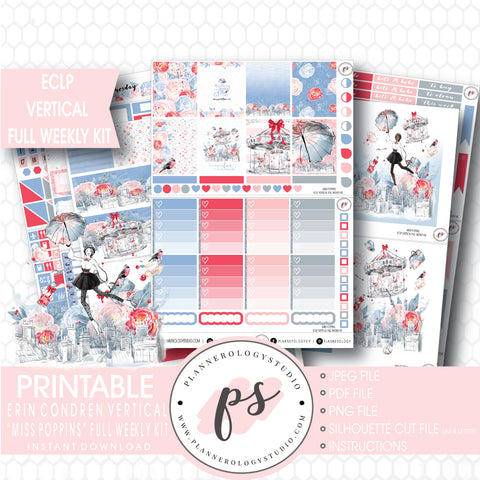 Miss Poppins (Mary Poppins) Full Weekly Kit Printable Planner Stickers (for use with ECLP Vertical) - Plannerologystudio