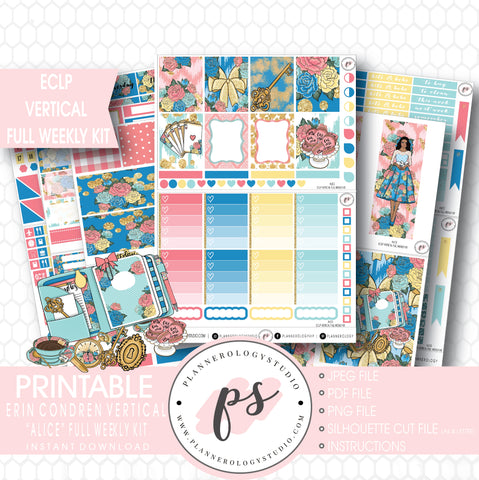 Alice Full Weekly Kit Printable Planner Stickers (for use with ECLP Vertical) - Plannerologystudio