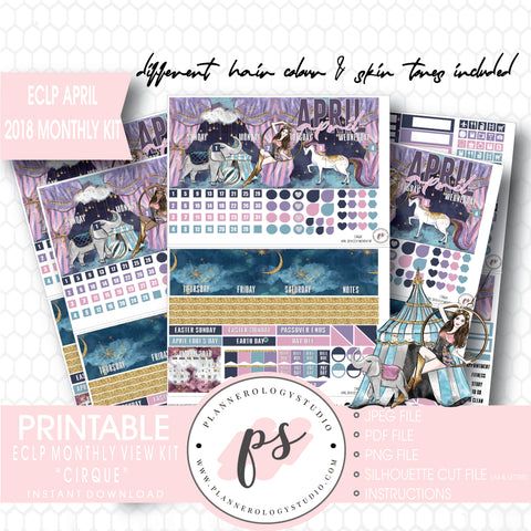 Cirque April 2018 Monthly View Kit Digital Printable Planner Stickers (for use with Erin Condren) - Plannerologystudio