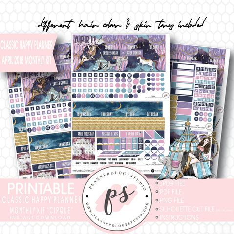Cirque April 2018 Monthly View Kit Digital Printable Planner Stickers (for use with Classic Happy Planner) - Plannerologystudio