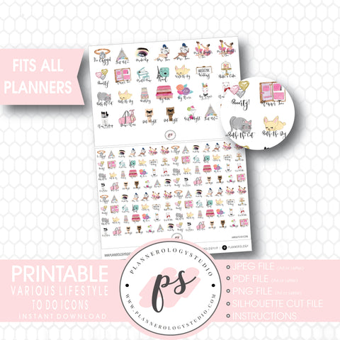 Various To Do & Lifestyle Tasks Icons Digital Printable Planner Stickers - Plannerologystudio