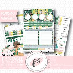 Emerald Vibes Monthly Notes Page Kit Digital Printable Planner Stickers (for use with ECLP) - Plannerologystudio