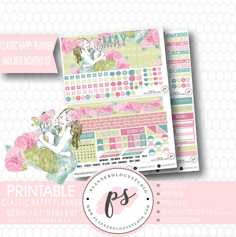 Mama & Me (Mother's Day) May 2018 Monthly View Kit Digital Printable Planner Stickers (for use with Classic Happy Planner) - Plannerologystudio