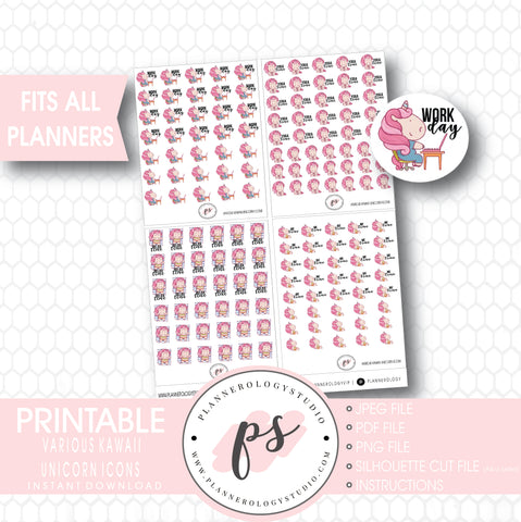 Cute Kawaii Unicorn To Do Icons Digital Printable Planner Stickers - Plannerologystudio