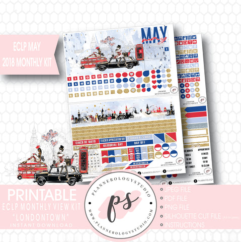 Londontown May 2018 Monthly View Kit Digital Printable Planner Stickers (for use with Erin Condren) - Plannerologystudio