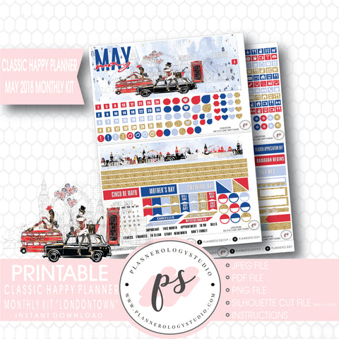 Londontown May 2018 Monthly View Kit Digital Printable Planner Stickers (for use with Classic Happy Planner) - Plannerologystudio