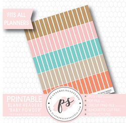 """Baby Powder"" Blank Header Printable Planner Stickers - Plannerologystudio"